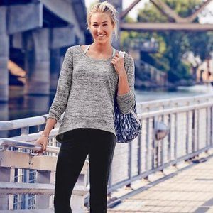 Athleta | Grey No Sweatin' It Sharkbite Sweater